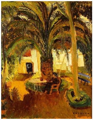 Jardim com palmeira e figura
