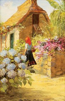 Figura feminina perto de casa