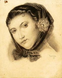 Rapariga com lenço e flor