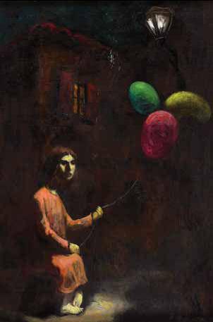 Figura feminina com balões