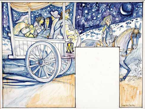 Composição com figuras, cavalo e carroça