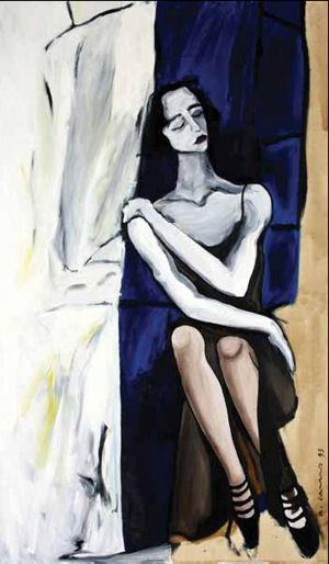 Composição com figura feminina sentada