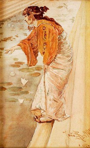 Senhora junto a lago