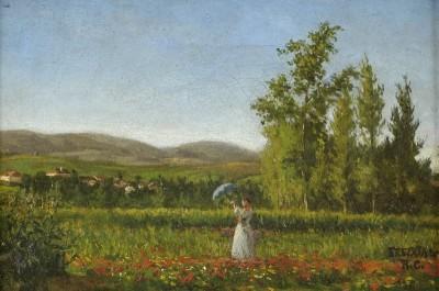 Quinta do Freixial com figura feminina