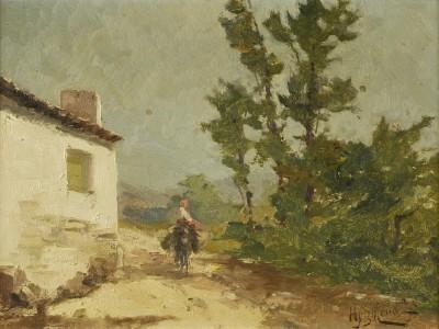 Casario rural com figura