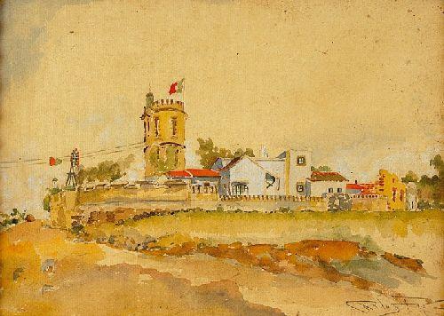 Casa com torreão com bandeira portuguesa