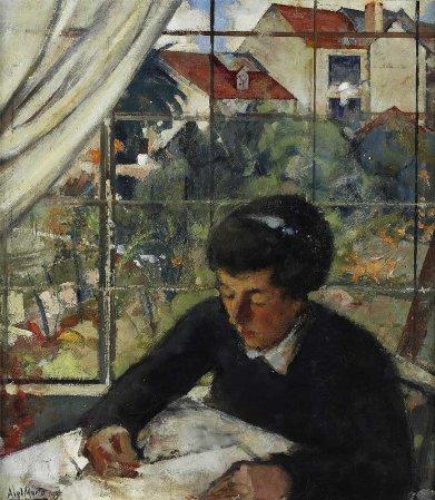 Sem título - Senhora a escrever à janela