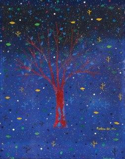 Árvore em noite estrelada
