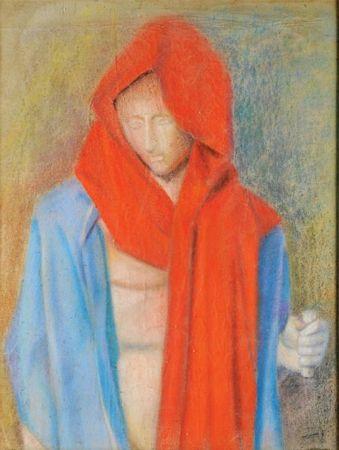 """""""Figura feminina com lenço vermelho"""""""
