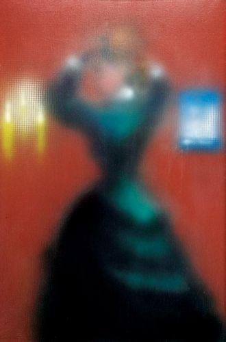"""Sem título"" (Figura feminina sobre fundo vermelho)"