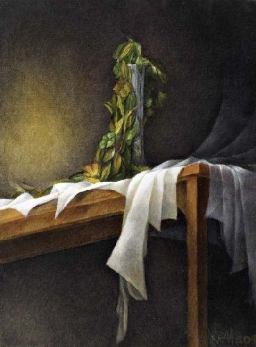 Natureza morta com jarra, folhas, mesa e toalha