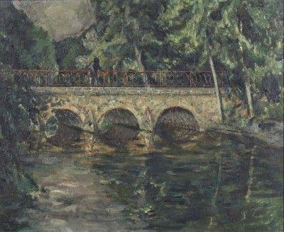 Paisagem com rio, ponte e figura
