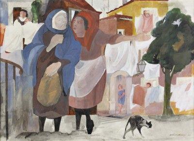 Vista de rua com figuras