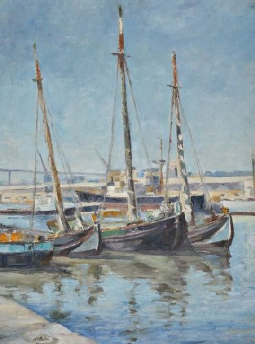 Fragatas no cais, Lisboa