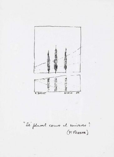 Dois desenhos com poemas