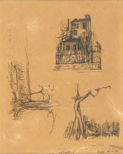 Estudos de casa e duas figuras à sombra de árvore