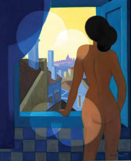 Vista de Lisboa com nu feminino