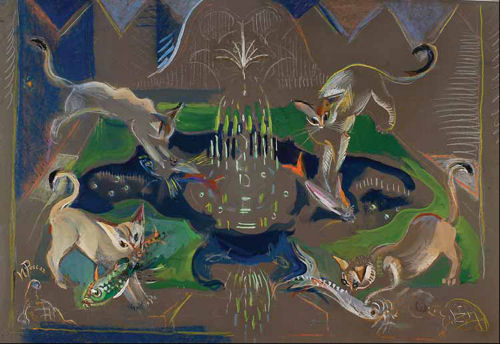 Gatos e carapaus na fonte