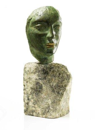 Cabeça, escultura em bronze dourado e patinado