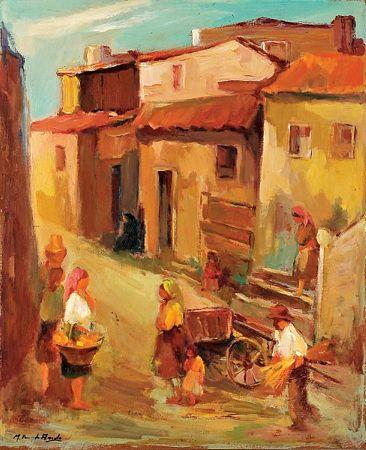 Trecho de aldeia com figuras