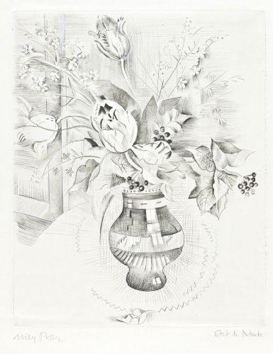 Natureza morta com flores e Menina com dominó