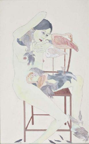 Figura feminina com aves