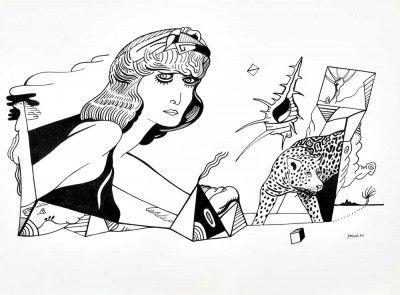 Figura feminina e leopardo