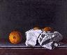 Natureza morta-laranjas com cesto