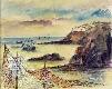 Vila piscatória com barcos no mar e redes